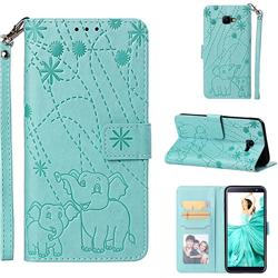 Embossing Fireworks Elephant Leather Wallet Case for Samsung Galaxy J4 Core - Green