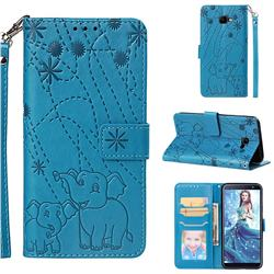Embossing Fireworks Elephant Leather Wallet Case for Samsung Galaxy J4 Core - Blue