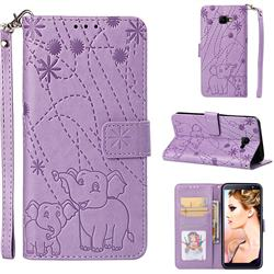 Embossing Fireworks Elephant Leather Wallet Case for Samsung Galaxy J4 Core - Purple