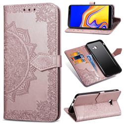 Embossing Imprint Mandala Flower Leather Wallet Case for Samsung Galaxy J4 Core - Rose Gold