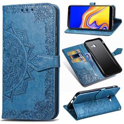 Embossing Imprint Mandala Flower Leather Wallet Case for Samsung Galaxy J4 Core - Blue