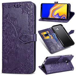 Embossing Imprint Mandala Flower Leather Wallet Case for Samsung Galaxy J4 Core - Purple