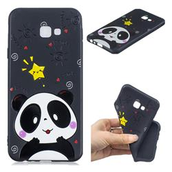 Cute Bear 3D Embossed Relief Black TPU Cell Phone Back Cover for Samsung Galaxy J4 Plus(6.0 inch)
