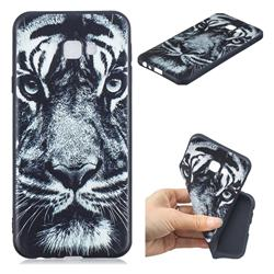 White Tiger 3D Embossed Relief Black TPU Cell Phone Back Cover for Samsung Galaxy J4 Plus(6.0 inch)