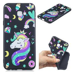 Candy Unicorn 3D Embossed Relief Black TPU Cell Phone Back Cover for Samsung Galaxy J4 Plus(6.0 inch)