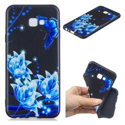Blue Butterfly 3D Embossed Relief Black TPU Cell Phone Back Cover for Samsung Galaxy J4 Plus(6.0 inch)