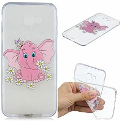 Tiny Pink Elephant Clear Varnish Soft Phone Back Cover for Samsung Galaxy J4 Plus(6.0 inch)