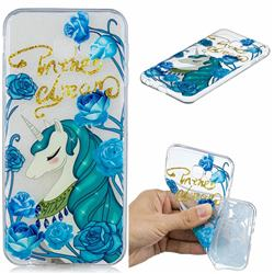 Blue Flower Unicorn Clear Varnish Soft Phone Back Cover for Samsung Galaxy J4 Plus(6.0 inch)