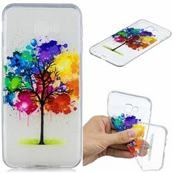 Oil Painting Tree Clear Varnish Soft Phone Back Cover for Samsung Galaxy J4 Plus(6.0 inch)