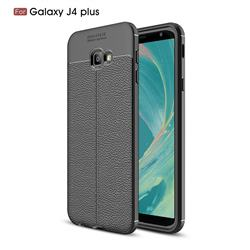 Luxury Auto Focus Litchi Texture Silicone TPU Back Cover for Samsung Galaxy J4 Plus(6.0 inch) - Black