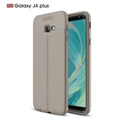 Luxury Auto Focus Litchi Texture Silicone TPU Back Cover for Samsung Galaxy J4 Plus(6.0 inch) - Gray