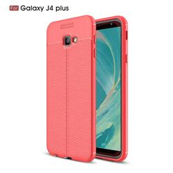 Luxury Auto Focus Litchi Texture Silicone TPU Back Cover for Samsung Galaxy J4 Plus(6.0 inch) - Red