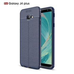 Luxury Auto Focus Litchi Texture Silicone TPU Back Cover for Samsung Galaxy J4 Plus(6.0 inch) - Dark Blue