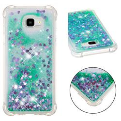 Dynamic Liquid Glitter Sand Quicksand TPU Case for Samsung Galaxy J4 Plus(6.0 inch) - Green Love Heart