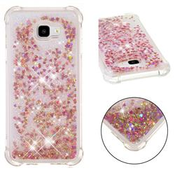 Dynamic Liquid Glitter Sand Quicksand TPU Case for Samsung Galaxy J4 Plus(6.0 inch) - Rose Gold Love Heart