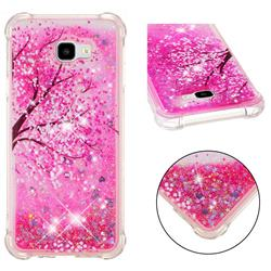 Pink Cherry Blossom Dynamic Liquid Glitter Sand Quicksand Star TPU Case for Samsung Galaxy J4 Plus(6.0 inch)