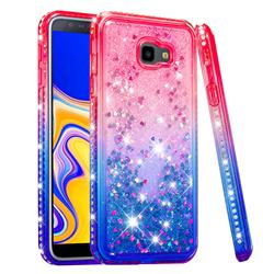 Diamond Frame Liquid Glitter Quicksand Sequins Phone Case for Samsung Galaxy J4 Plus(6.0 inch) - Pink Blue
