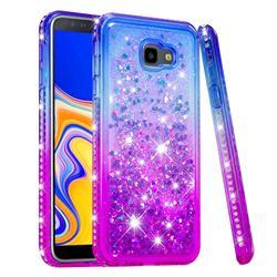 Diamond Frame Liquid Glitter Quicksand Sequins Phone Case for Samsung Galaxy J4 Plus(6.0 inch) - Blue Purple
