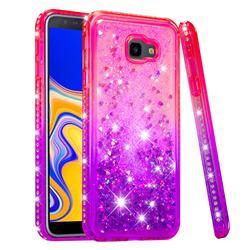 Diamond Frame Liquid Glitter Quicksand Sequins Phone Case for Samsung Galaxy J4 Plus(6.0 inch) - Pink Purple