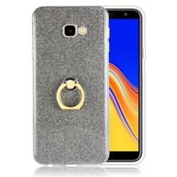 Luxury Soft TPU Glitter Back Ring Cover with 360 Rotate Finger Holder Buckle for Samsung Galaxy J4 Plus(6.0 inch) - Black