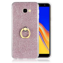 Luxury Soft TPU Glitter Back Ring Cover with 360 Rotate Finger Holder Buckle for Samsung Galaxy J4 Plus(6.0 inch) - Pink