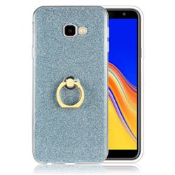 Luxury Soft TPU Glitter Back Ring Cover with 360 Rotate Finger Holder Buckle for Samsung Galaxy J4 Plus(6.0 inch) - Blue