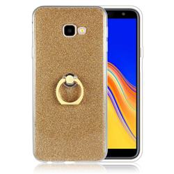 Luxury Soft TPU Glitter Back Ring Cover with 360 Rotate Finger Holder Buckle for Samsung Galaxy J4 Plus(6.0 inch) - Golden