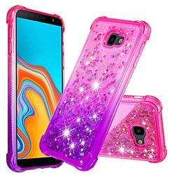 Rainbow Gradient Liquid Glitter Quicksand Sequins Phone Case for Samsung Galaxy J4 Plus(6.0 inch) - Pink Purple