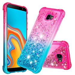 Rainbow Gradient Liquid Glitter Quicksand Sequins Phone Case for Samsung Galaxy J4 Plus(6.0 inch) - Pink Blue
