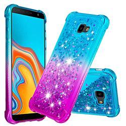 Rainbow Gradient Liquid Glitter Quicksand Sequins Phone Case for Samsung Galaxy J4 Plus(6.0 inch) - Blue Purple