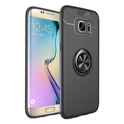 Auto Focus Invisible Ring Holder Soft Phone Case for Samsung Galaxy J4 Plus(6.0 inch) - Black