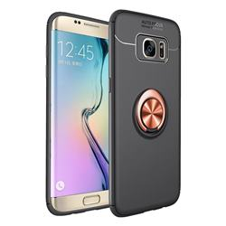 Auto Focus Invisible Ring Holder Soft Phone Case for Samsung Galaxy J4 Plus(6.0 inch) - Black Gold