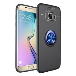Auto Focus Invisible Ring Holder Soft Phone Case for Samsung Galaxy J4 Plus(6.0 inch) - Black Blue