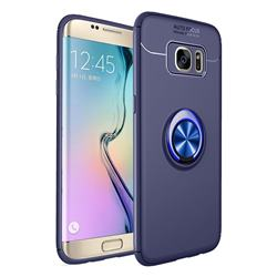 Auto Focus Invisible Ring Holder Soft Phone Case for Samsung Galaxy J4 Plus(6.0 inch) - Blue