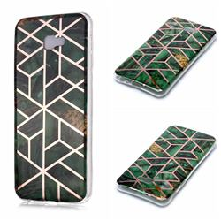 Green Rhombus Galvanized Rose Gold Marble Phone Back Cover for Samsung Galaxy J4 Plus(6.0 inch)