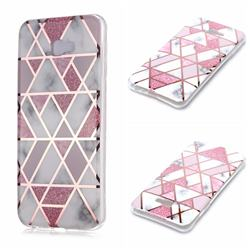 Pink Rhombus Galvanized Rose Gold Marble Phone Back Cover for Samsung Galaxy J4 Plus(6.0 inch)