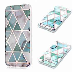 Green White Galvanized Rose Gold Marble Phone Back Cover for Samsung Galaxy J4 Plus(6.0 inch)