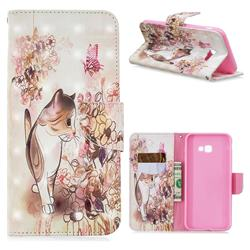 Flower Butterfly Cat 3D Painted Leather Wallet Phone Case for Samsung Galaxy J4 Plus(6.0 inch)