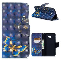 Gold Butterfly 3D Painted Leather Wallet Phone Case for Samsung Galaxy J4 Plus(6.0 inch)