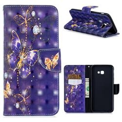 Purple Butterfly 3D Painted Leather Wallet Phone Case for Samsung Galaxy J4 Plus(6.0 inch)