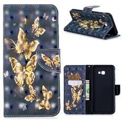 Silver Golden Butterfly 3D Painted Leather Wallet Phone Case for Samsung Galaxy J4 Plus(6.0 inch)