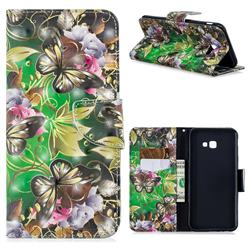Green Leaf Butterfly 3D Painted Leather Wallet Phone Case for Samsung Galaxy J4 Plus(6.0 inch)