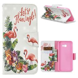 Flower Flamingo 3D Painted Leather Wallet Phone Case for Samsung Galaxy J4 Plus(6.0 inch)