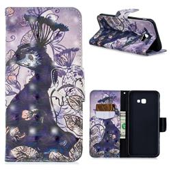 Purple Peacock 3D Painted Leather Wallet Phone Case for Samsung Galaxy J4 Plus(6.0 inch)