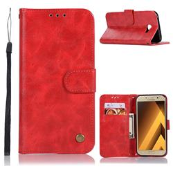 Luxury Retro Leather Wallet Case for Samsung Galaxy J4 Plus(6.0 inch) - Red