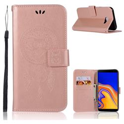 Intricate Embossing Owl Campanula Leather Wallet Case for Samsung Galaxy J4 Plus(6.0 inch) - Rose Gold
