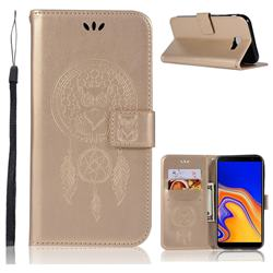 Intricate Embossing Owl Campanula Leather Wallet Case for Samsung Galaxy J4 Plus(6.0 inch) - Champagne