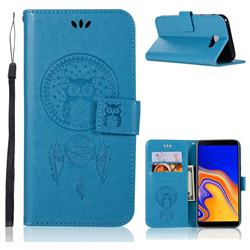 Intricate Embossing Owl Campanula Leather Wallet Case for Samsung Galaxy J4 Plus(6.0 inch) - Blue