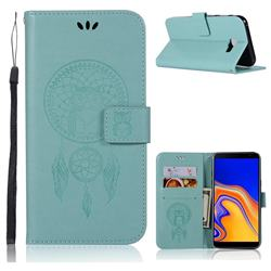 Intricate Embossing Owl Campanula Leather Wallet Case for Samsung Galaxy J4 Plus(6.0 inch) - Green