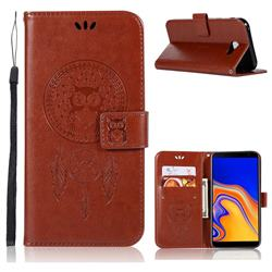 Intricate Embossing Owl Campanula Leather Wallet Case for Samsung Galaxy J4 Plus(6.0 inch) - Brown